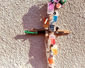 Contemporary crucifix, Crucifixoplasticus Colordei, Object-creator, devotion coll. Folk art icon consumption - Art Recuperation by lydieLYK
