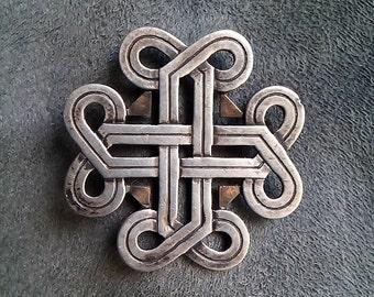 KELT Broche P.PERON Vintage 1960 Noeuds Croix Infini Celtique Breton argent 272/600 Nœud Entrelacs infinité lien éternel pour lui pour elle
