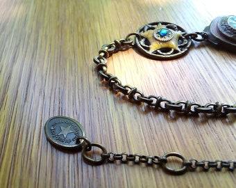 "Necklace ""Les Gens du Sud"" Perpignan France - Vintage Retro Boho Ethnic Chic - Antique bronze enamel and rhinestones Swarovski on Brass bronze"