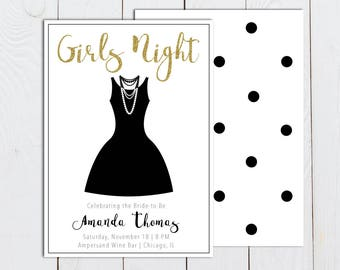 Girls Night Out Invitation, Ladies Night Invitation, Little Black Dress bachelorette party invitation with gold and black polka dots