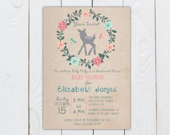 0632b10de0a0 Baby Deer Wall Print Baby Deer Enchanted Forest Nursery Print