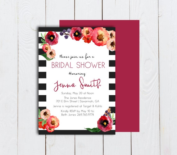 black and white striped invitation watercolor floral and etsy