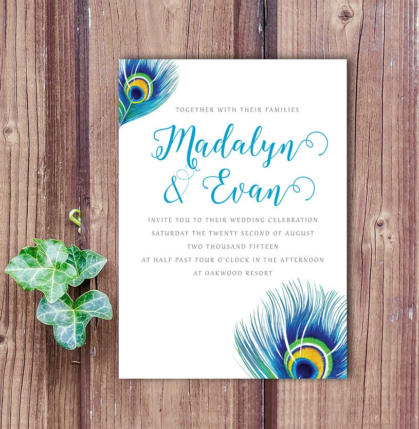 Peacock Wedding Ideas Etsy: Peacock Feather Wedding Invitation Peacock Wedding Peacock