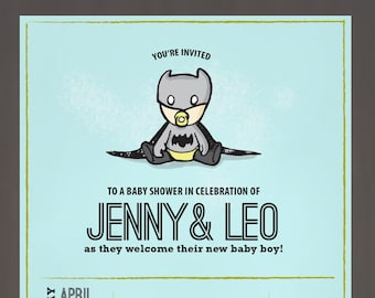 Unique Baby Batman Baby shower invitation (available in different skin tones)