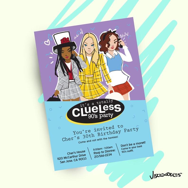 90s Clueless Party Printable Invitation /digital