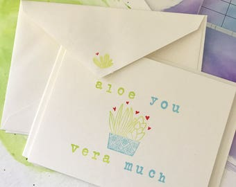 Aloe You Vera Much - Hand Stamped Card Set