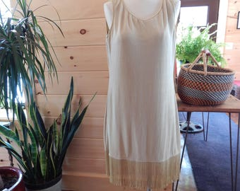 Fully Lined Stretchy Sleeveless  Gold Flapper Style Fringe Dress L