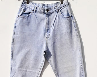 eddf69c9 Vintage 1990s  Lee Jeans   High Waist  Mom Jeans  Bleached   Light Wash    Size