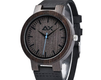 Leather Strap Wooden Wrist Watch, Engraved Watch, Custom Wood Watch, Mens Wooden Watch, Groomsmen Watch, Mens Wrist Watch, Unique Watch