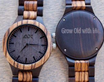 FREE ENGRAVING, Wood Watch, Anniversary Gift, Wooden Watch, Gift for Him, Mens Wood Watch, Engraved Watch, Wood Watch for Men, Mens Watch