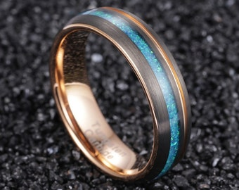 Black wedding Ring, Mens opal ring, Brushed black Tungsten Carbide Band, Rose gold , Mens Ring, 8mm Tungsten, Wedding Band, Brushed Ring