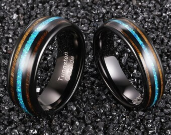 Mens Wedding Band, Wedding band for Men, Mens Opal Wedding Band, Opal Ring, Black Wedding Band, Mens Ring, Wood Wedding band, Wood Ring