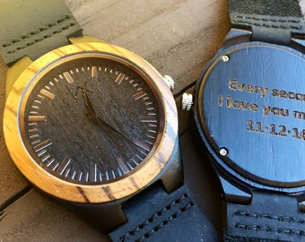 Mens Wooden Watch With Custom Engraving, Wooden Watch for Men, Gift for Him, Mens Wood Watch, Personalized Wood Watch, Wedding Gift, Wood