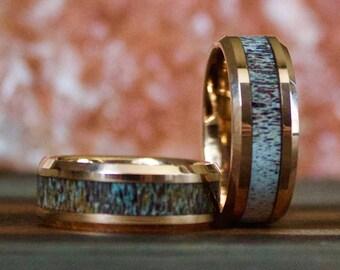 Rose Gold Antler Ring, Deer Antler Jewelry, Mens Ring, Womens Ring, Wedding Band, Deer Antler Ring, Antler Ring, Antler Wedding Band