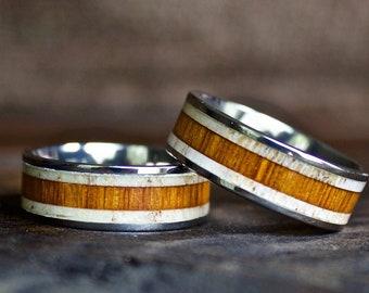 Wood Ring, Titanium Wood Ring, Antler Ring, Mens Wood Ring, Womens Ring, Wedding Band, Wooden Ring, Wood Jewelry, Wood Wedding Band
