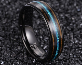 Wood Ring, Opal Ring, Wooden Ring for Men, Opal Wedding Band, Womens Opal Ring, Koa Wood Ring, Wood Ring, Mens Opal Ring Wedding Band