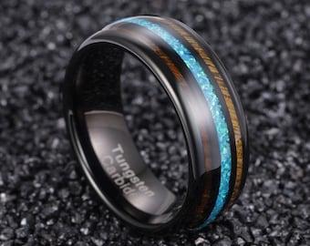 Black Wood Ring, Opal Ring, Wooden Ring for Men, Opal Wedding Band, Wood Wedding Band, Koa Wood Ring, Wood Ring, Mens Opal Ring Wedding Band