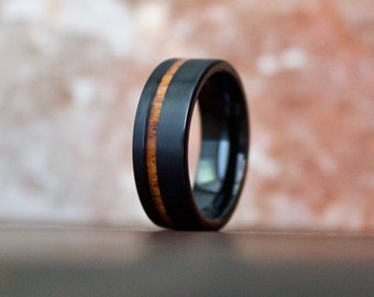 Black Ring Wood, Tungsten Carbide Ring, Koa Wood Ring, Mens Wood Ring, Wooden Wedding Ring, Tungsten Wood Ring, Koa Wood Jewelry, Mens Ring