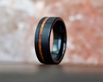 Brushed Black Wood Ring, Wooden Ring for Men, Tungsten Carbide Ring, Wood Wedding Band, Koa Wood Ring, Wood Ring, Black Ring, Wedding Band