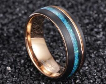 Opal Ring, Opal Wedding Band, Opal Ring for Men Women, Mens Opal Ring Wedding Band, Rose Gold Wedding Band, Black Wedding Band, Opal