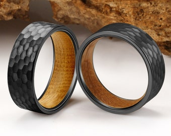 Hammered Wedding Ring, Black Hammered Ring, Wood Rings, wooden ring, wood wedding band, wedding band, Wood rings for men, Mens Hammered Ring