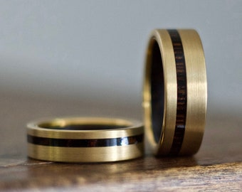 Gold Wedding Band, Wood Wedding Band, Gold Wedding Ring, Wood Ring, Wood Ring Men, Mans Ring, Gold Ring, Wooden Ring, Wood Inlay Ring