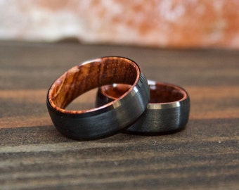 Wood Ring, Black Tungsten Carbide Ring, Wood Rings, wooden ring, wooden rings, wedding band, Wood rings for men, Wood, Wood Wedding Band