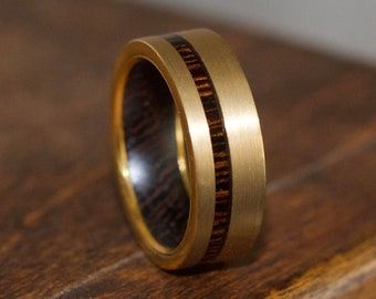 Wood Ring, Gold Wedding Ring for Men, Wood Ring Men, Wood Wedding Band for Men, Wooden Rings, Wood Inlay Ring, Gold Ring, Wedding Band Gold