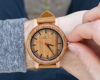 Wood Watch, Bamboo Wood Watch, Mens Wooden Watch, Handmade for Men Women, Minimalist Wood Watch, Groomsmen Gift, Wooden Watch, Gift for Him