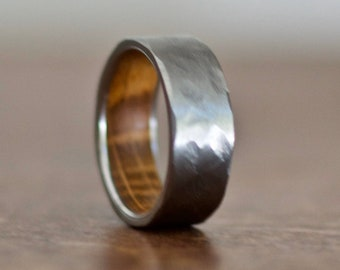 Hammered Wedding Band, Wood Wedding Band for Men, Whiskey Barrel Ring, Wood Rings for Men, Wood Wedding Band for Women, Wooden Rings