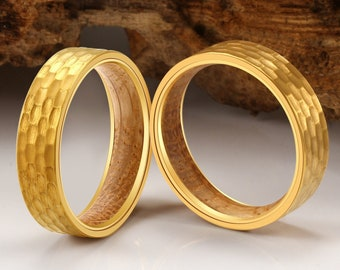 Gold Wedding Band, Hammered Wedding Band, Gold Wedding Ring, Mens Wood Ring, Hammered Ring, Gold Hammered Ring, Wood Wedding Band, Wood Ring