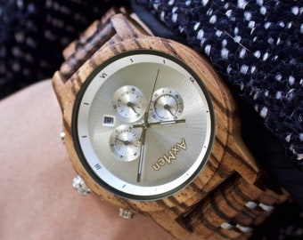 FREE Engraving, Wood Watch, Womens Wood Watch, Wooden Watch, Chronograph Watch, Wooden Watch for Women, Personalized Watch, Womens Watch