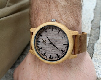 Wood Watch, Bamboo Watch, Mens Wooden Watch, Womens Wood Watch, Wood Wrist Watch, Groomsmen Gift, Wooden Watch, Gift for Him, Mens Watch