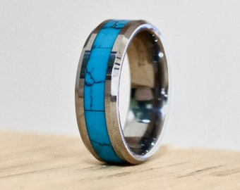 Turquoise Ring, Turquoise Wedding Band, Wedding Band, Turquoise Jewelry, Natural Turquoise