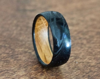 Damascus Steel Wedding Band, Wood Ring for Men, Wood Wedding Band for Men, Black Wedding Ring for Men, Wooden Rings Men, Whiskey Barrel Ring