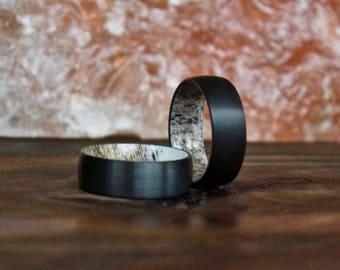 Black Antler Ring, Tungsten Carbide Ring, Mens Ring, Womens Ring, Wedding Band, Deer Antler Ring, Antler Ring, Antler Wedding Band, Deer