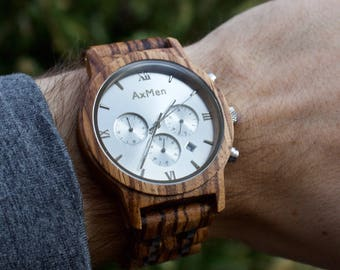 FREE Engraving, Wood Watch, Mens Wood Watch, Wooden Watch, Chronograph Watch, Mens Wooden Watch, Personalized Watch, Wedding Groom Gift