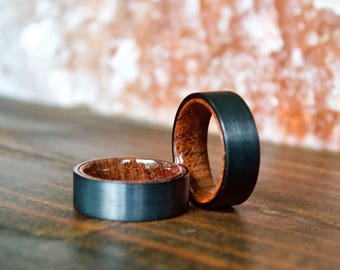 Wood Ring, Black Tungsten Carbide Ring, Wood Rings, wooden ring, wooden rings, wedding band, Wood rings for men, Wood, Wood Wedding Band