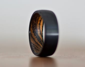 Black Wedding Band, Wood Wedding Band for Men and Women, Wood Ring, Wood Inlay Ring, Wedding Band Wood, Wooden Rings for Men Women
