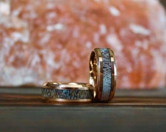 Rose Gold Antler Ring, Tungsten Carbide Ring, Mens Ring, Womens Ring, Wedding Band, Deer Antler Ring, Antler Ring, Antler Wedding Band
