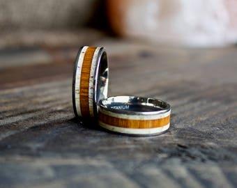 Wood Ring, Titanium Wood Antler Ring, Mens Wood Ring, Womens Ring, Wedding Band, Koa Wood Ring, Wooden Ring, Wood Jewelry, Wood Wedding Band