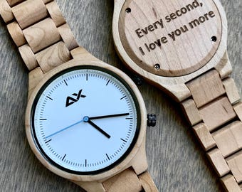 FREE ENGRAVING, Wooden Watch, Engraved Wooden Watch, Gift for him, Mens Wooden Watch, Wedding Gift, Anniversary Gift, Groomsmen Gift, Wood