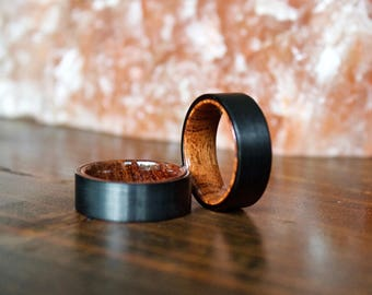 Wood Ring, Black Tungsten Carbide Ring, Mens Wood Ring, wooden ring, Wood, wooden rings, wedding band, Wood rings for men, Wood Inlay ring