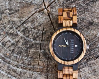 FREE ENGRAVING, Wood Watch, Mens Wood Watch, Wooden Watch, Gift for Him, Wooden Watch, Personalized Watch, Wedding Gift, Groom Gift, Wood