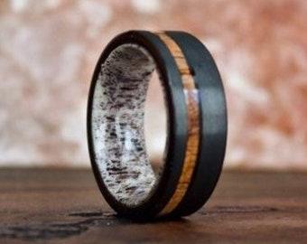Antler Ring, Tungsten Carbide Ring, Mens Ring, Koa Wood Ring, Wedding Band, Deer Antler Ring, Wood Rings, Antler Wedding Band, Wood Ring