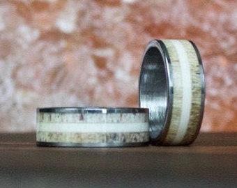 Antler Ring, Tungsten Carbide Ring, Mens Ring, Womens Ring, Wedding Band, Deer Antler Ring, Antler Ring, Antler Wedding Band, Antler Band