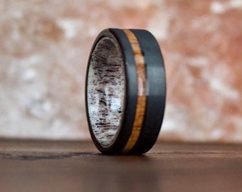 Black Antler Ring, Koa Wedding Ring, Deer Antler Band, Mens Antler Ring, Black Tungsten Band, Mens Tungsten Ring, Wood Wedding Band Men