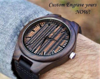 Wood Watch, FREE ENGRAVING, Wooden Watch for Men, Gift for Him, Mens Wood Watch, Personalized Wooden Watch, Wedding Gift, Wood Watch, Watch