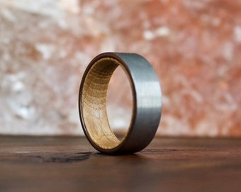 Whiskey Barrel Ring, Wood Ring, Tungsten Carbide Ring, Mens Wood Ring, wooden ring, Wood, wooden rings, wedding band, Wood rings for me