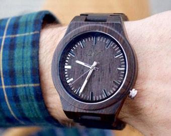 Dark Wood Watch, Engraved Wooden Watch, Gift for him, Mens Wooden Watch, Wedding Gift, Anniversary Gift, Wood Watch, Groomsmen Gift,